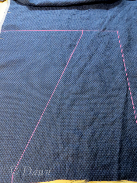 Marking the pattern on the fabric with pink chalk - enhanced in Photoshop so it would show up here