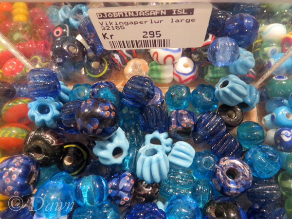 Viking bead reproductions for sale in the Iceland National Museum Gift Shop.