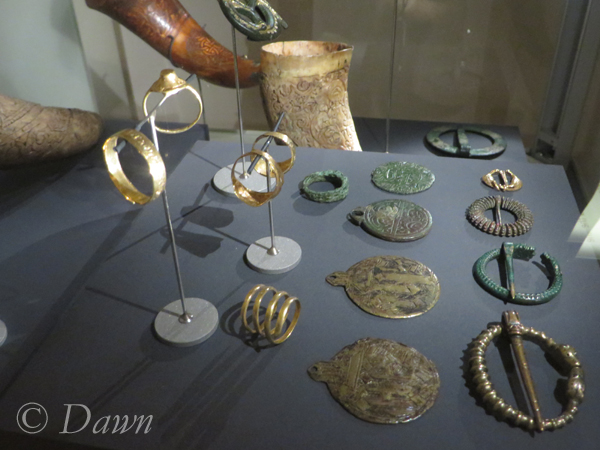 A display of brooches, rings, pendants and horns in the Iceland National Museum.