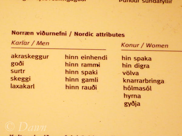 Display of common names and nicknames for Icelanders living during the VIking Age