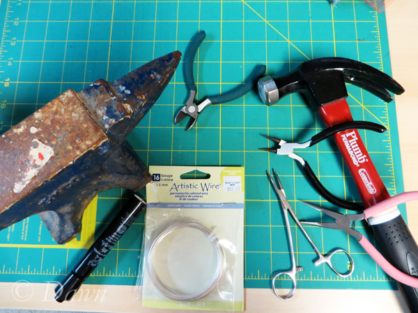 tools and materials for my Hand-Made Penannular Brooch