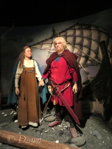 The wax figures representing the earliest settlers of Iceland in the Saga Museum