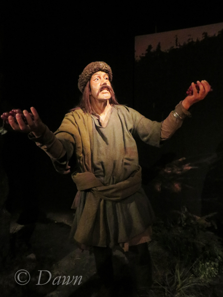 The wax figure representing discovery of Vinland in the Saga Museum