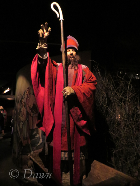 A figure representing a religious figure in the Saga Museum in Iceland