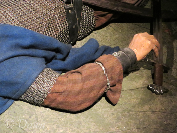 Armband on the fallen fighter in the scene from a battle at the Saga Museum