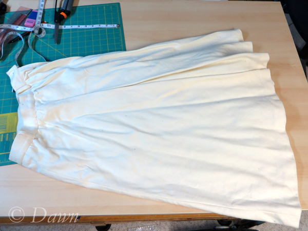 White wool skirt ready to cut up