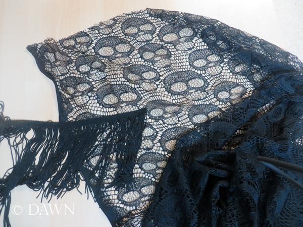 Black Lace Skull Shawl Scarf Dawns Dress Diary