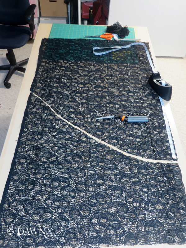Cutting out the skull lace shawl / scarf