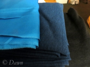 Habotai silk remnant, blue linen knit, and black linen knit from Gala Fabrics in Victoria