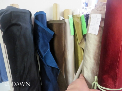 Lovely bamboo velvet in cream, white, gold, red, brown, blue, and black at Gala Fabrics