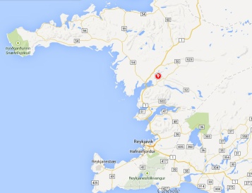 Hvítárvellir indicated in red in a screenshot of Iceland.
