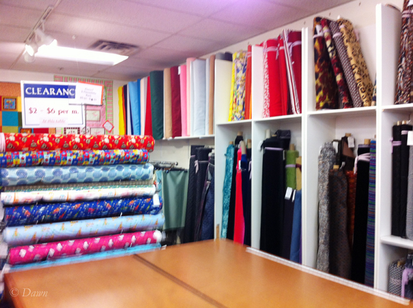 The discount fabric section at  Gala Fabrics in Victoria