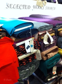 An assortment of wool fabrics for $10.00/meter at Gala Fabrics in Victoria