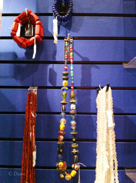 Various beaded necklaces and bracelets in the gift shop at the Viking exhibit at the museum in Victoria.