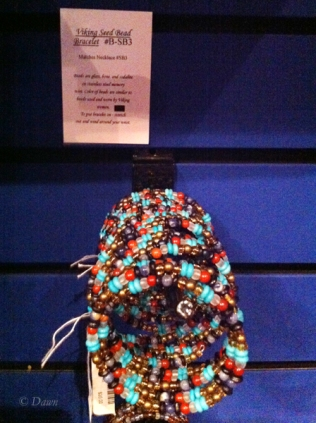 """Viking seed bead bracelet"" in the gift shop at the Viking exhibit at the museum in Victoria."