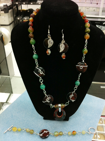 Wire wrapping necklace, bracelet and earrings from The Bead Shop, Calgary