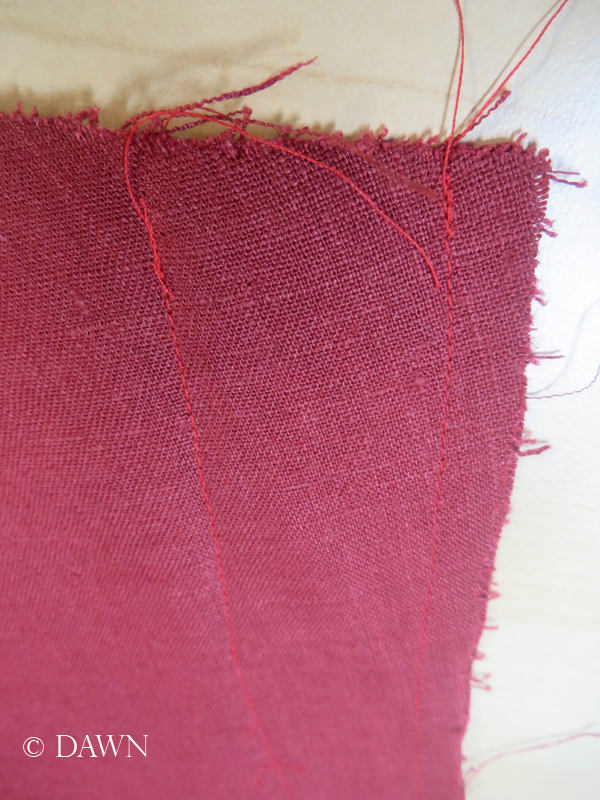 Some fairly considerable alteration needed on the red linen apron dress