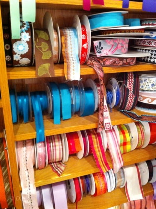 Ribbons and trims at the Button & Needlework Boutique in Victoria, BC.