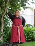 Red linen apron dress - just missing the brooches!