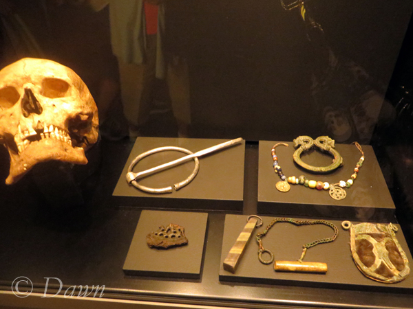 Viking personal adornment display at the Royal BC Museum. This display included a skull with filed teeth, a large pin, a festoon, an ornate pin, whetstone, needle case, and purse.