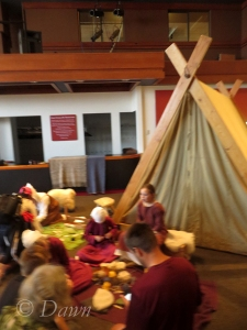 Naalbinding class at The Vikings marketplace at the Royal BC museum
