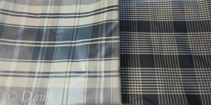 Black and tan uneven plaid silk & Black, white and tan uneven plaid silk