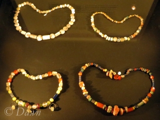 Fully beaded necklaces of trade beads.