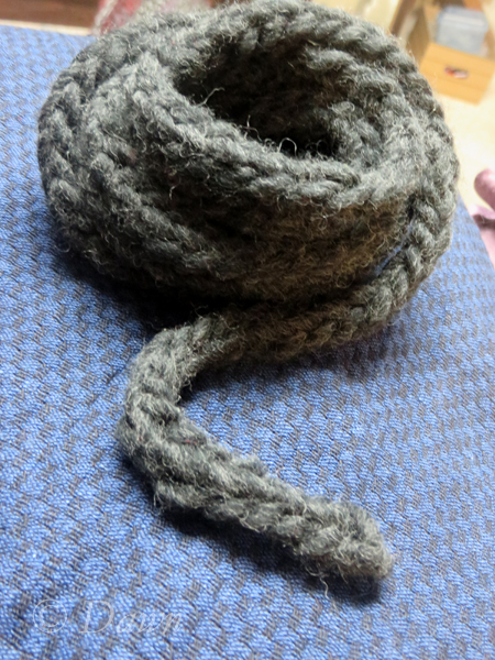 Lucet cord using wool (singles) yarn
