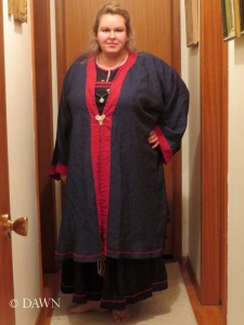 The finished result of the Viking age coat - way too big for me.