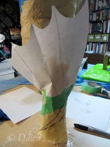 Taped up mock up of the  hand-fin / glove pattern