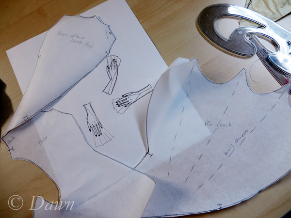 Hand fin / glove pattern and early sketches