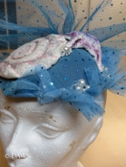 """Close up of the cocktail hat or fascinator for my """"Enchantment Under the Sea"""" costume."""
