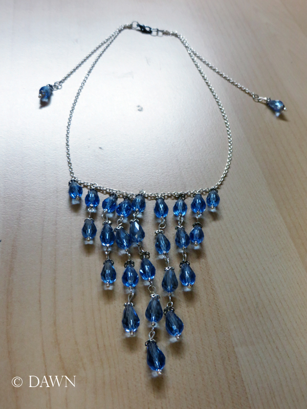 Necklace for my Enchantment under the Sea costume - dangling clear blue beads on a silver chain