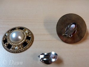 The faux clasps were clip-on earrings originally.