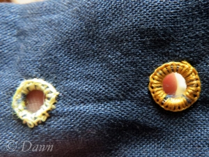 finished jump-ring eyelet and sewing thread eyelet  (before lacing test)
