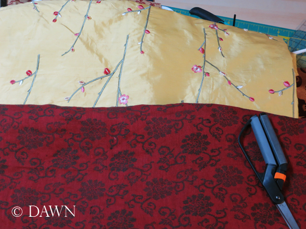 Yellow floral silk & red and brown floral linen