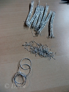Cutting the chain into pieces, the remnants of wire, and the first-draft rings