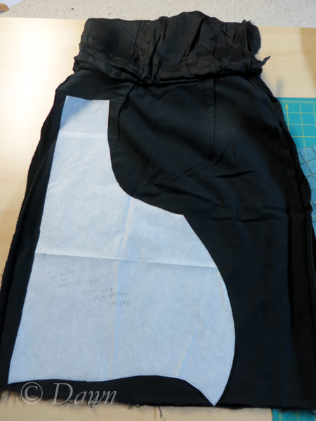 Cutting out version 2 from a cotton velvet skirt