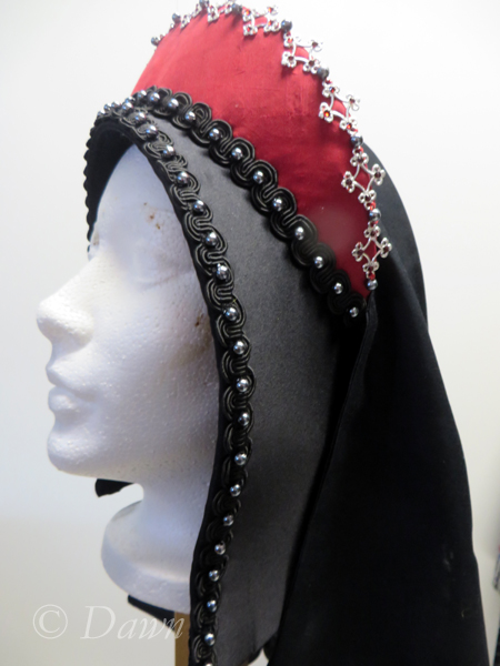 First French Hood, side view. This photo shows the difference between the base and the veil.