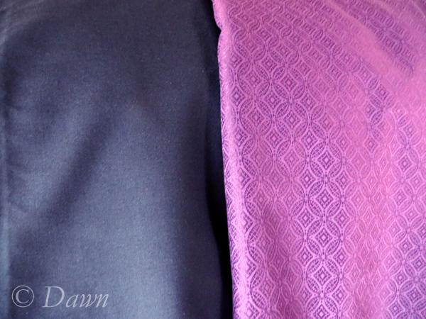 Navy wool & purple damask