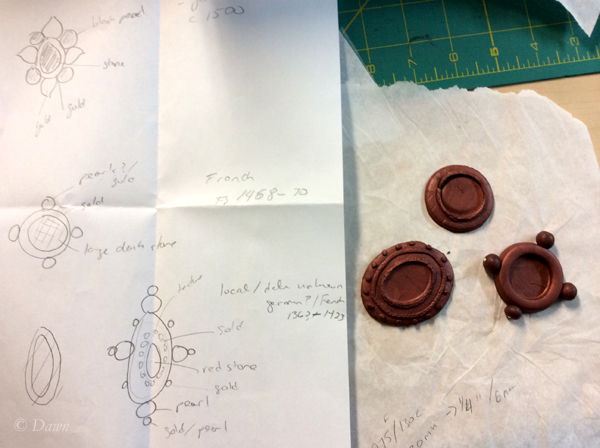3 different brooches, with my super-rough sketch for shapes