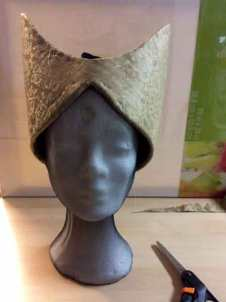 The headdress from the front as a work-in-progress.
