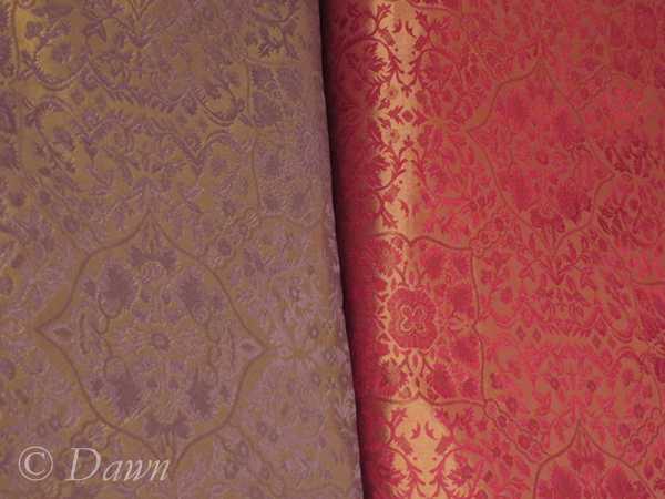 Two colourways of silk damask from Renaissance Fabrics