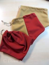 Three different drawstring purses