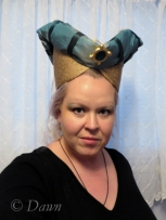 Horned Headdress with the veil hanging behind a bit too much