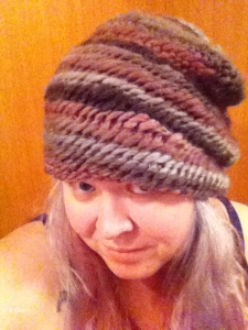 First Nålbinding hat (iPhone photo) worn all slouchy with the edge down