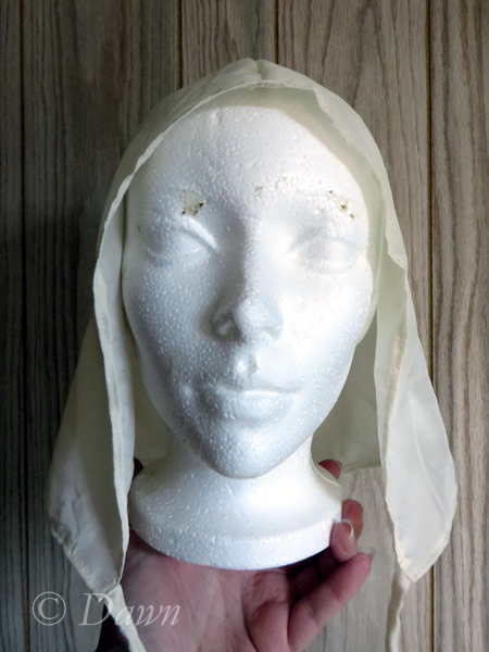 Front view of the silk hood