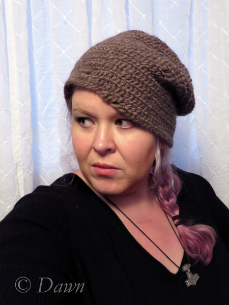 My third naalbinding hat in brown heather wool