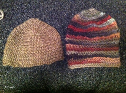 First and second Nålbinding hats