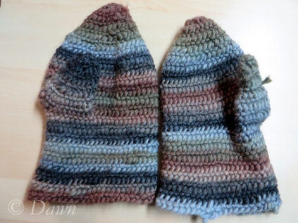 two complete mittens - before fulling/shrinking them.